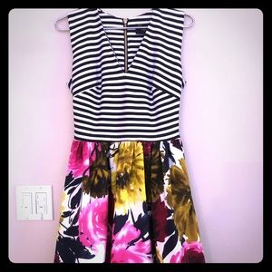 Taylor striped and flowered dress size 4